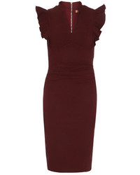 Dorothy Perkins Jolie Moi Burgundy Frilly Bodycon Dress