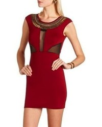 Charlotte Russe Embellished Mesh Inset Body Con Dress