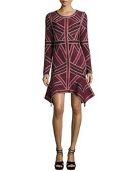 Herve Leger Handkerchief Hem Long Sleeve Bandage Dress Vampcombo