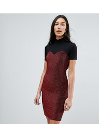Noisy May Tall High Neck Mesh Top Glitter Bodycon Dress