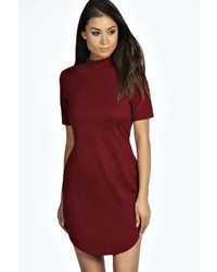 Boohoo Kareena Ribbed Curved Hem Bodycon Dress