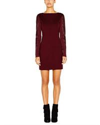 Nicole Miller Leather Sleeve Ponte Dress
