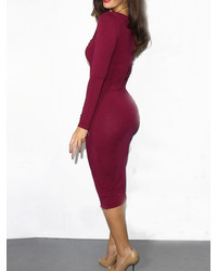 Long Sleeve Bodycon Burgundy Dress
