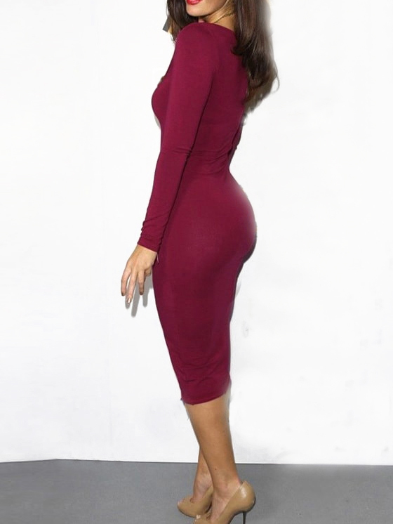 fbe4c6d2a085 ... Long Sleeve Bodycon Burgundy Dress ...