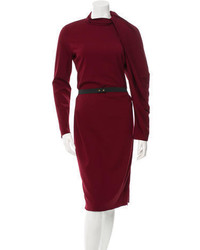 Lanvin Long Sleeve Pleated Accented Dress W Tags