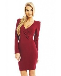 Long sleeve v front bodycon burgundy dress online medium 61967