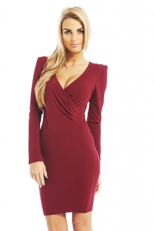 AX Paris Long Sleeve V Front Bodycon Burgundy Dress Online