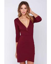 LuLu*s Lulus Lean Into It Burgundy Dress