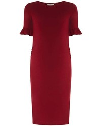 Maternity Burgundy Frill Sleeve Bodycon Dress
