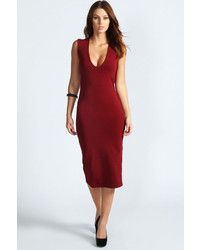 Boohoo Mia Plunge Neck Bodycon Midi Dress