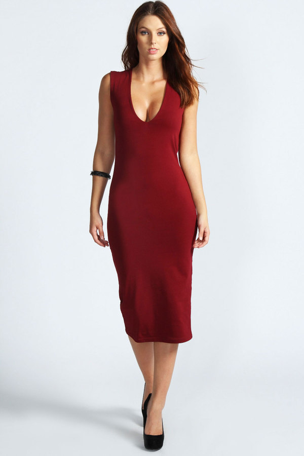 ... Burgundy Bodycon Dresses Boohoo Mia Plunge Neck Bodycon Midi Dress ... f362f5b31