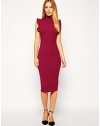 Asos Midi Bodycon Dress With High Neck And Frill Sleeve