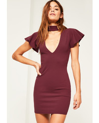 Missguided Burgundy Crepe Frill Sleeve Choker Neck Bodycon Dress