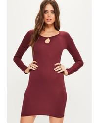Missguided Burgundy Keyhole Long Sleeve Bodycon Dress