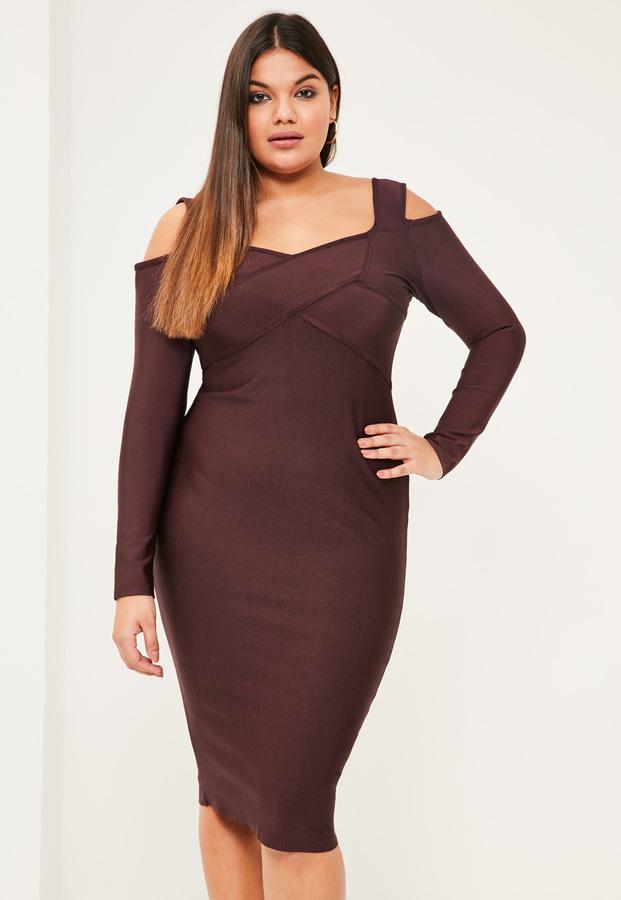 Plus Size Purple Cold Shoulder Bandage Bodycon Dress