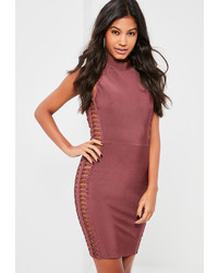 Missguided Premium Purple Bandage Ring Side Detail Mini Dress