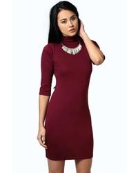 Boohoo Nancy High Neck 34 Sleeve Bodycon Dress