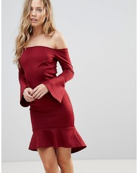 Oh My Love Off Shoulder Flute Sleeve Mini Dress
