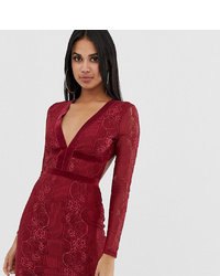 PrettyLittleThing Open Back Bodycon Dress In Burgundy