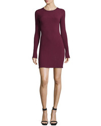 Penny long sleeve ribbed bodycon dress bordeaux medium 651122