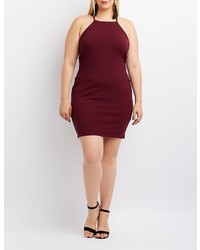 Charlotte Russe Plus Size Bib Neck Lattice Inset Bodycon Dress
