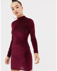 Missguided Ribbed Velvet Open Back Mini Dress In Burgundy