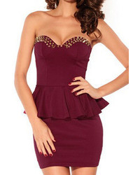 Romwe Riveted Flouncing Bodycon Bandeau Red Dress