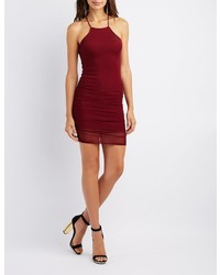 Charlotte Russe Ruched Mesh Bib Neck Bodycon Dress