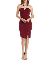 Strapless Plunging Bodycon Dress