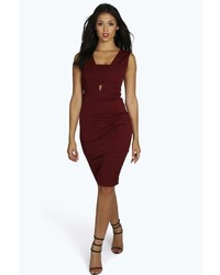 Boohoo Veronica Cut Out Contrast Midi Dress