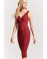 Forever 21 Zip Front Bodycon Dress