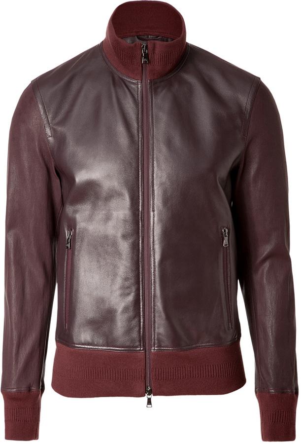 Neil Barrett Burgundy Leather Bomber Jacket | Where to buy & how ...