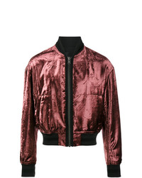 Haider Ackermann Metallic Red Tiziano Velour Bomber Jacket