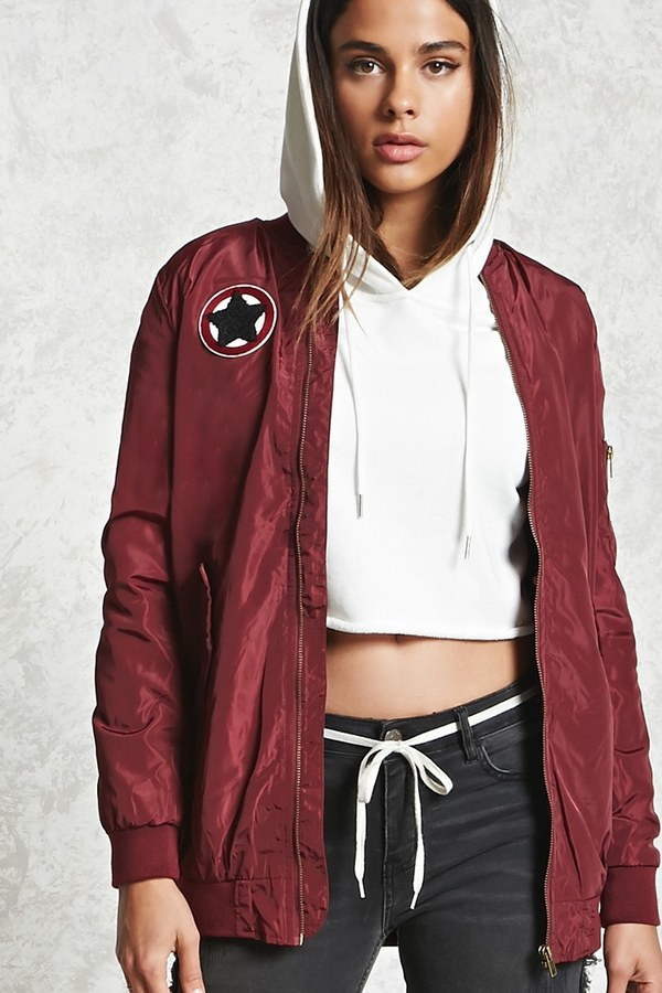 ced5a30572f Forever 21 Patched Longline Bomber Jacket