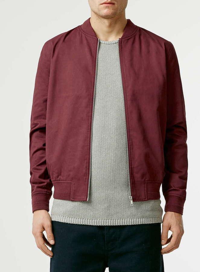 dca34c958 $80, Topman Burgundy Cotton Bomber Jacket