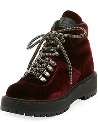 Prada Linea Rossa Velvet Lace Up Combat Boot