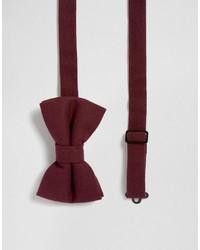 Asos Bow Tie In Textured Burgundy