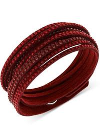 Swarovski Swarovksi Burgundy Fabric Crystal Stud Wrap Bracelet
