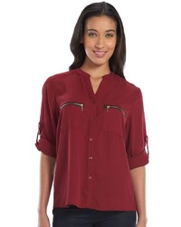 Harve benard hillary georgette zipper blouse medium 424993