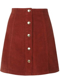 Topshop Cord Button Front A Line Skirt