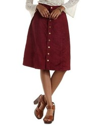 Charlotte Russe Renamed Button Up Faux Suede Midi Skirt