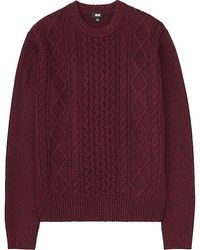 Burgundy Cable Sweaters for Men | Men's Fashion