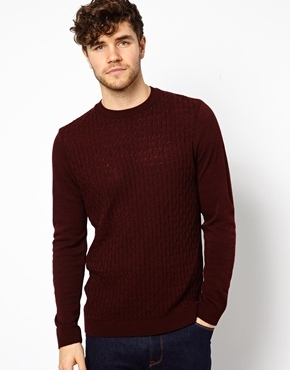 Asos Cable Sweater Burgundy | Where to buy & how to wear