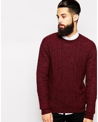 Men's Burgundy Cable Sweaters from Asos | Men's Fashion