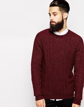 Asos Lambswool Rich Cable Sweater Burgundy | Where to buy & how to ...