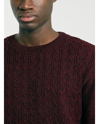 Topman Black Burgundy Cable Twist Sweater | Where to buy & how to wear