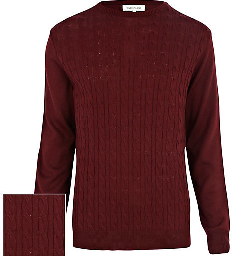 River Island Burgundy Lightweight Cable Knit Sweater | Where to ...