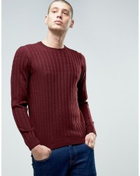 Asos Cable And Rib Mix Sweater In Wool Mix