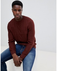 New Look Cable Knit Jumper In Rust