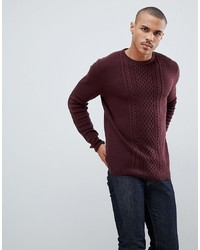 Tom Tailor Cable Knit Jumper In Wine
